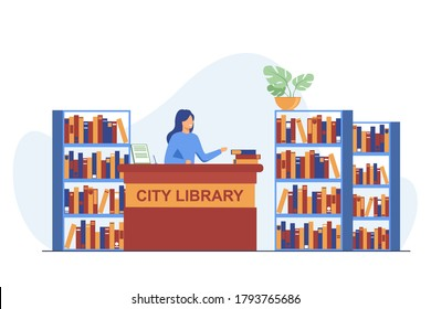 Female smiling librarian standing at counter. Book, shelf, paper flat vector illustration. City library and knowledge concept for banner, website design or landing web page