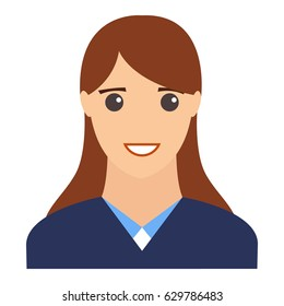 Female smiling portrait. Flat design vector illustration. Modern avatar.