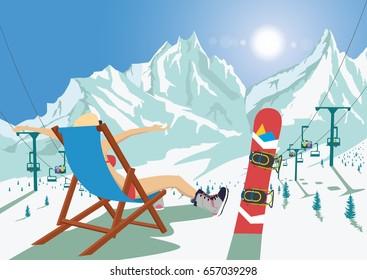 Female snowboarder in bikini sitting in deck chair relaxing in mountain ski resort. Bright sun and ski chair lift