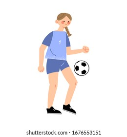 Female soccer player in the blue t-shirt hits the ball right view. Vector illustration in flat cartoon style.