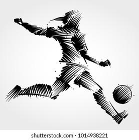 Female soccer player kicking the ball made of black brushstrokes on light background