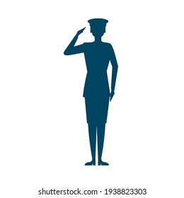 female soldier salute silhouette isolated
