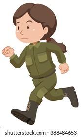 Female soldier in uniform running illustration