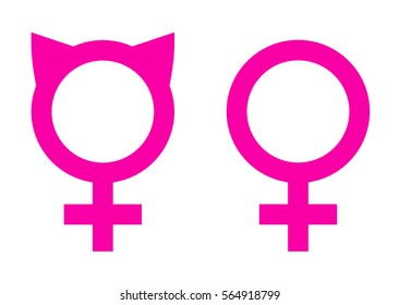 Female Solidarity Symbols Icons. Pink Cat Ears and Venus Sign. Vector EPS 10 Isolated.