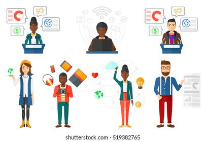 Female speaker standing at podium with microphones at business conference. Speaker giving speech at podium at business seminar. Set of vector flat design illustrations isolated on white background.