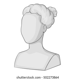 Female statue head icon. Gray monochrome illustration of female statue head vector icon for web