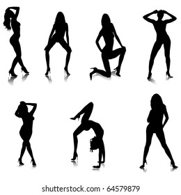 Female Stripper Silhouettes.Vector