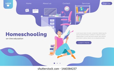 Female Student character study on-line. Can use for web banner, infographics, hero images, landing. People studying at home interior, student room. Study concept. Flat cartoon vector illustration