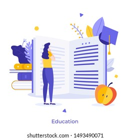Female student standing in front of giant open book and reading. Creative concept of university education, school learning, obtaining academic degree. Flat cartoon colorful vector illustration.