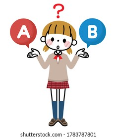 A female student who chooses A or B.