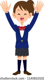 Female students who enjoy rejoicing raising their hands