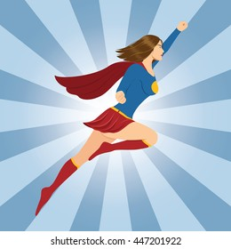 Female Superhero Flying with Clenched Fist