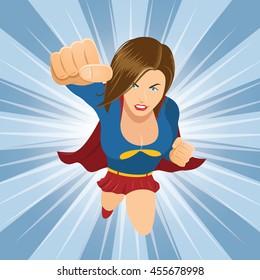 Female Superhero Flying Forward