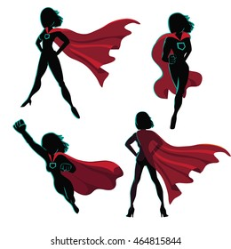 Female superhero silhouette action poses collection. EPS 10 vector
