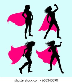 Female superhero silhouette. Good use for symbol, icon, mascot, sticker, or any design you want.