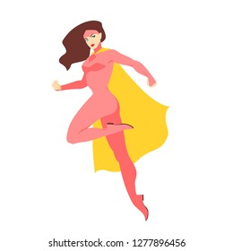Female superhero or superheroine. Brunette woman with muscular body wearing tight-fitting costume or bodysuit and cape. Fantastic character with super power. Vector illustration in flat cartoon style.