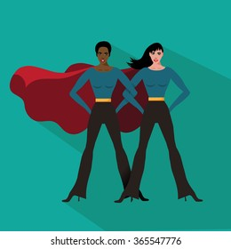 Female superheroes flat design EPS 10 vector