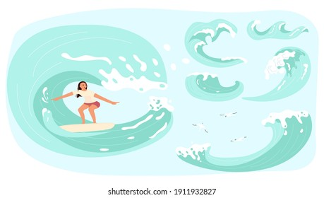 Female surfer rides the Barreled Rushing Wave. Set of surfing waves with splashes isolated on white background. Flat Art Vector illustration