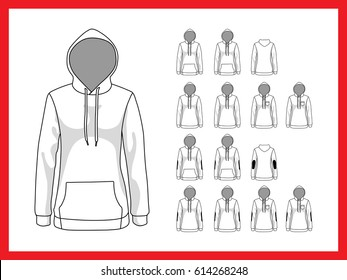 Female sweatshirt with hood and pockets. Front and back view vector set template