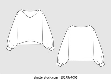 Female sweatshirt vector template isolated on a grey background. Front and back view. Outline fashion technical sketch of clothes model.