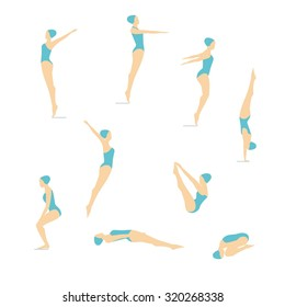 Female Swimming and Diving Color Vector images. Women's position diving.Elements isolated on a white background.