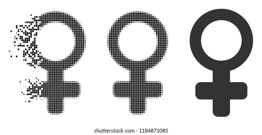 Female symbol icon in fractured, pixelated halftone and original variants. Cells are combined into vector disappearing female symbol icon. Disappearing effect uses rectangular dots.