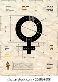 Female symbol as technical blueprint drawing. Drafting of woman sign on crumpled kraft paper. Vector illustration about women's biology and health, feminine psychology, sex differences, gender role