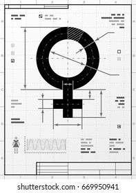 Female symbol as technical drawing. Stylized drafting of woman sign with title block