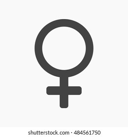 Female symbol for your web design, logo. Gender icon in trendy flat style isolated on grey background. Vector illustration