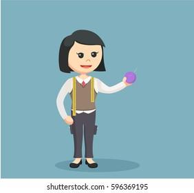 female tailor holding yarn