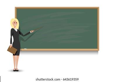 Female teacher and blackboard