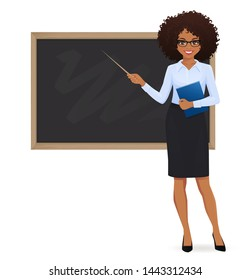 Female teacher at blackboard with copy space showing something using pointer stick isolated vector illustration