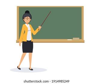 Female teacher with a blank blackboard and pointing stick,Teacher with pointer, teacher showing on board.Flat Vector cartoon character illustration