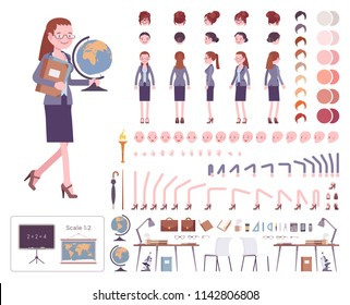 Female teacher character creation set. School, universirty or college profi worker. Full length, different views, emotions, gestures. Build your own design. Cartoon flat style infographic illustration