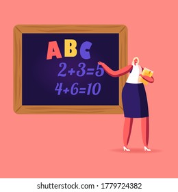 Female Teacher Character with Pointer Explain Abc and Mathematics Lesson Stand at Blackboard with Tasks Written with Chalk. School or College Education, Class, Knowledge. Cartoon Vector Illustration