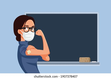 Female Teacher Getting Vaccinated for School Reopening. Young professor obtaining anti viral immunization trough vaccination process