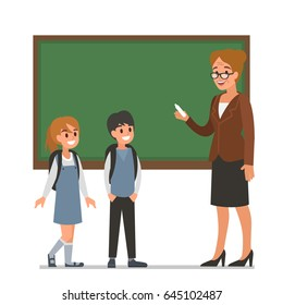 Female teacher with pupils.  Flat style vector illustration isolated on white background.