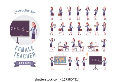 Female teacher ready-to-use character set. School, universirty or college worker, at lesson for students. Professional education and learning concept. Full length, different views, gestures, emotions