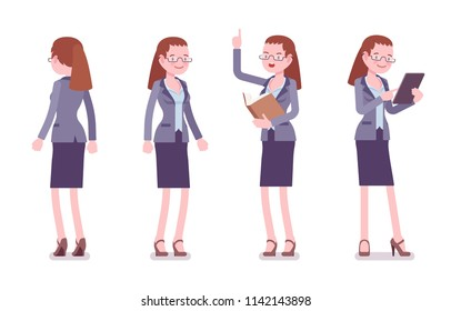 Female teacher standing. School, universirty or college worker, at lesson for students. Professional education and learning concept. Vector flat style cartoon illustration isolated on white background