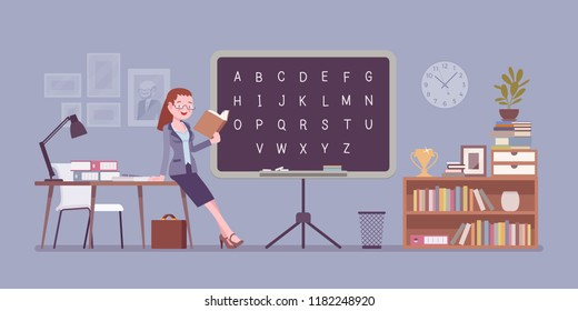 Female teacher stands at the blackboard. School, university, college worker, at lesson in classroom. Professional education and learning concept. Vector flat style cartoon illustration