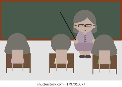 Female teacher with student in classroom icon vector illustration.