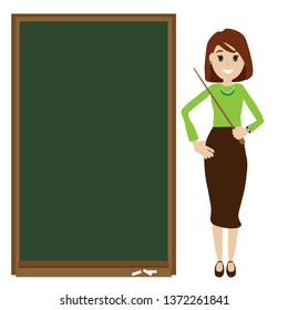 Female  teacher vector illustration isolated on white. Teacher and blackboard.Teacher with pointer, smiling teacher showing on chalkboard .