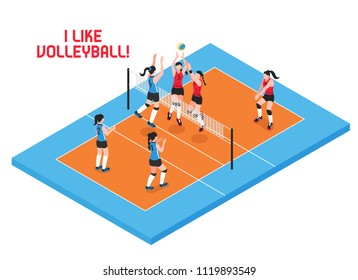 Female teams during volley ball game on blue orange play field isometric vector illustration