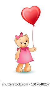 Female teddy bear holding red balloon in shape of heart in paws, fluffy character wearing dress and bow, vector illustration isolated on white