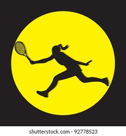 Female tennis player silhouette