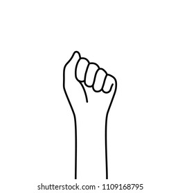 female thin line fist like protest. concept of courage or conquest like triumph and simple gesture. lineart flat contour trend grip logotype element graphic art design isolated on white background