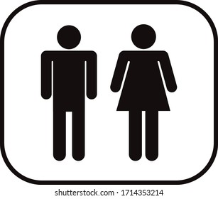 female toilet sign, male toilet sign, black sign, toilet sign vector with white background