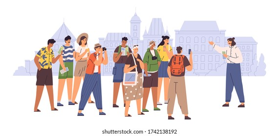 Female tour guide showing interesting places to group of tourist vector flat illustration. People admiring architecture cityscape isolated on white. Travel man and woman visit sightseeing of city