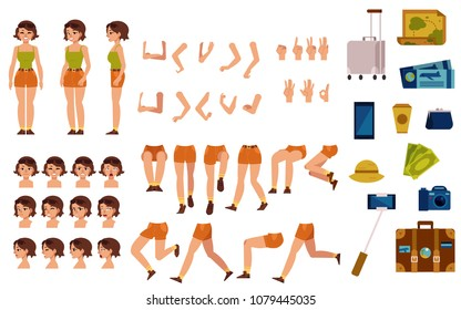 Female tourist creation set - girl in t-shirt and shorts with sunglasses. Various body parts, face emotions, hand gestures and travel accessories kit of flat woman traveller. Vector illustration.