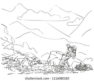Female trekker with backpack sitting on big stone with mountain landscape on background, Hand drawn vector linear illustration